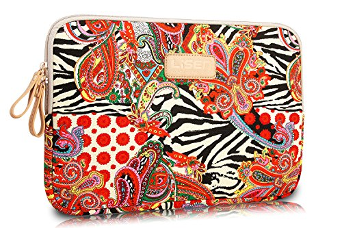LISEN® Ethnic Hibiscus Style Canvas Fabric 12-12.5 Inch Laptop / Notebook Computer / MacBook / MacBook Pro / MacBook Air Sleeve Case Bag Cover + Neck Strap Lanyard + Stylus Pen + Cleaning Cloth