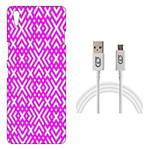 Designer Hard Back Case for OnePlus X with 1.5m Micro USB Cable