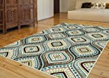 Universal Rugs 1008 Capri Contemporary Area Rug, 8 by 10-Feet, Blue