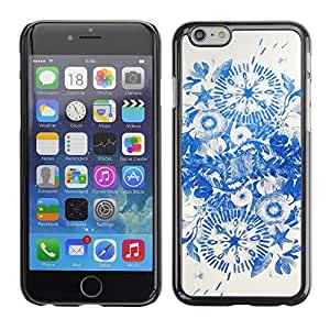 Omega Covers - Snap on Hard Back Case Cover Shell FOR Iphone 6/6S (4.7 INCH) - Blue Ink Flowers China