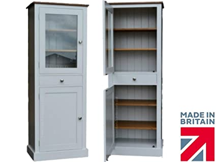 100% Solid Wood Glazed Display Larder Cupboard, 6ft Tall White Painted Kitchen Pantry Unit. No flat packs, No assembly (KSC-1)