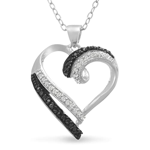 Contemporary-1-4-Carat-Black-and-White-Diamond-Heart-Necklace-18-Inches