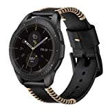 YRABBIT Genuine Leather Band (22mm),Compatible with Samsung Gear S3/Galaxy Watch 46mm,Adjustable Leather Steel Bracelet Watch Band Strap Replacement Wristband Cuff Bangle Bracelet Accessories (Black) (Color: Black)