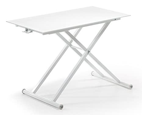 Mesa de centro elevable con pies de acero+ Cristal - Selección Cabana