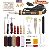 Crafters - Pro Leather Working Tool Kit & Bonus Pyrography Set | for Beginners to Advanced Crafters & DIY Hobbyists | 38 Total Pieces and Storage Box | Burning, Cutting & Sewing Basics Pack (Color: Wood, Tamaño: 9