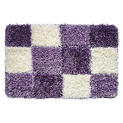 Uphome Geometric Series Checkered Microfiber Bath Accent Rug - Non-slip Soft Decorative Bathroom Doormat Kitchen Mat