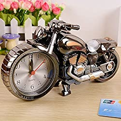 ZWZCYZ New Quartz Analog Travel Desk Alarm Clock Time Motorcycle Model Battery Operated Home Office Gift