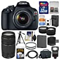 Canon EOS Rebel T5 Digital SLR Camera & 18-55mm IS II & 75-300mm III Lens & Case + 32GB Card + Flash + Battery & Charger + Tripod + Tele/Wide Lens Kit