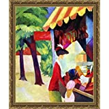 Before Hutladen (woman With A Red Jacket And Child) By Macke - ArtsNyou Printed Paintings - B00QA0B526