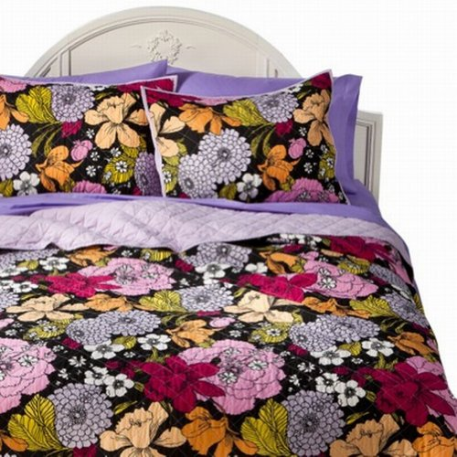 Xhilaration Twin Xl Bed Quilt Floral Black With Purple Orange & Pink Flowers front-449907