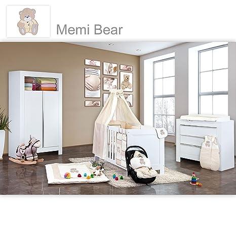 Babyzimmer Felix in weiss 21 tlg. mit 2 turigem Kl + Memi Bear in Beige