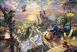 42in x 28in Beauty and the Beast Falling in Love by Thomas Kinkade - Stretched Canvas