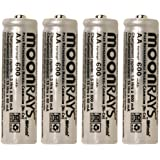 Moonrays 97125 Rechargeable NiCd AA Batteries for Solar Powered Units AA, 4 Pack