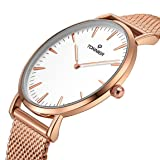 Tonnier Rose Golden Stainless Steel Mesh Band Super Slim Men Watches Quartz Watch