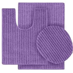 Garland Rug 3 Piece Sheridan Nylon Washable Bathroom Rug Set Purple Home Kitchen