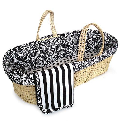 Black White Damask Moses Basket Set front-677900