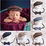 Newborn Baby Photography Photo Props Boy Girl Costume Outfits Hat Tie Set (Coffee) (Color: Coffee, Tamaño: M)