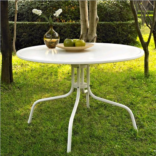 Crosley Furniture Griffith Metal 40-Inch Dining Table, White image