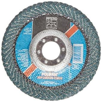 "PFERD Polifan PSF Abrasive Flap Disc, Radial Shape, Round Hole, Phenolic Resin Backing, Zirconia Alumina, 5"" Dia., 40 Grit (Pack of 1)"