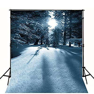 The Winter Sun Cross the Snow Forest Backdrop 5x7 Custom Photography Background for Christmas Family Photo Booth