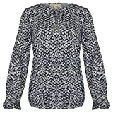 MICHAEL Michael Kors Printed Long Sleeve Keyhole Blouse (Navy, Medium)