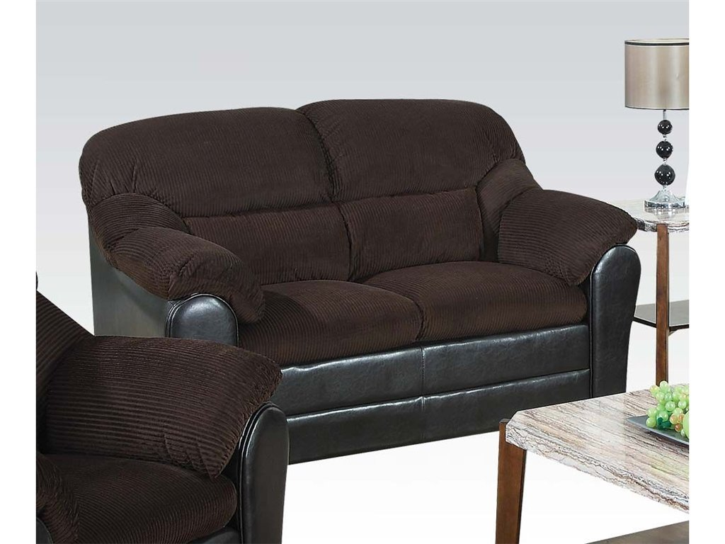 ACME 15976 Connell Loveseat - Chocolate Corduroy and Espresso PU