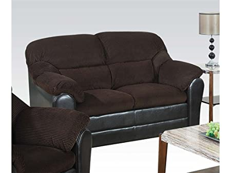 ACME 15976 Connell Loveseat, Chocolate Corduroy and Espresso PU