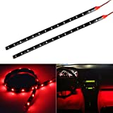 Partsam 2pcs Car Interior Under Dash Floor Decorative LED Lights Strip Red 2 x 12 15LED