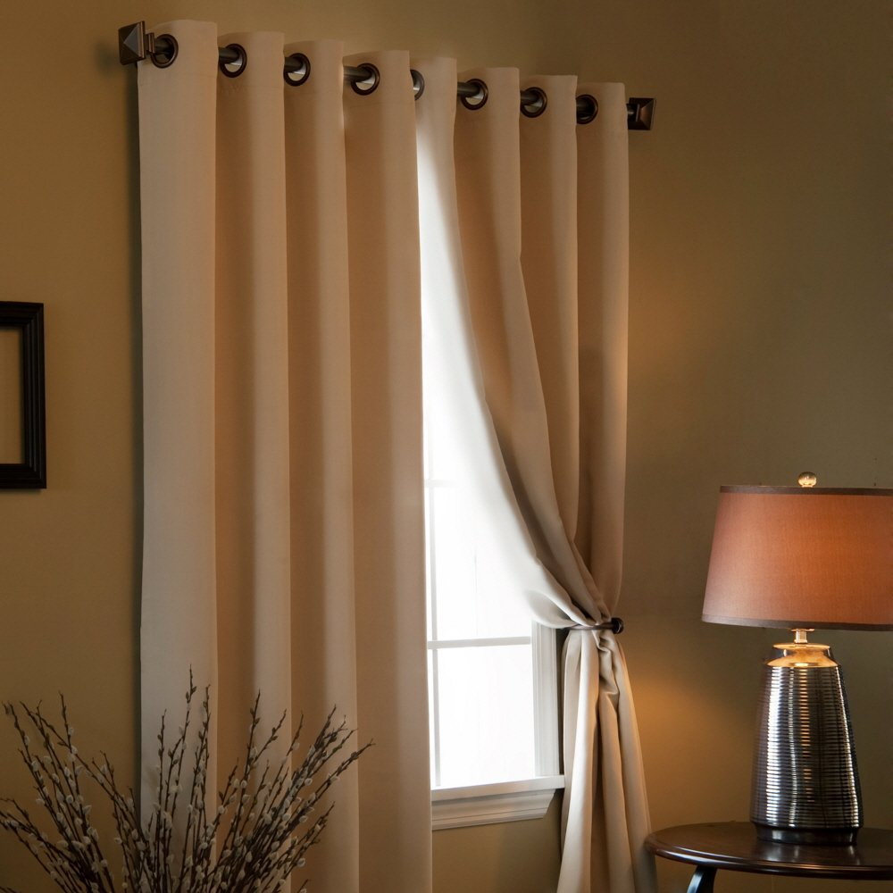 solid grommet top thermal insulated blackout curtain 84. Black Bedroom Furniture Sets. Home Design Ideas