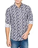 Freehand Men's Casual Shirt (FHS105-Navy and black_Medium)