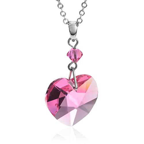 Pink Crystal Heart Pendant Necklace Made with Swarovski Elements