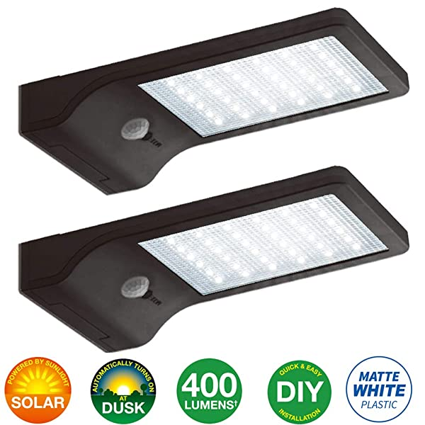 Bonashi LED Solar Motion Sensor Light Outdoor 2 Pack, Security Motion Activated Wall Lights with Mounting Poles for Gutter Patio Garden Path, Waterpro