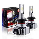 Boodled S1 Plus Series LED Headlight Bulbs All-in-One Conversion Kit -H7,Newest ZES Chips 50W 6500K 10000Lumens,9~32V.(Cool White). (Tamaño: H7)
