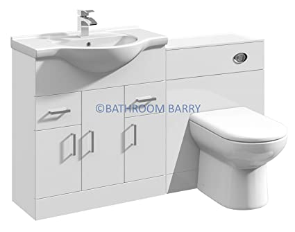 1350mm Modular High Gloss White Bathroom Combination Vanity Basin Sink Cabinet, WC Toilet Furniture & BTW Pan