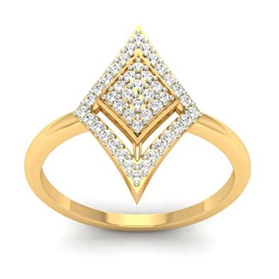 18K Yellow Gold 0.26cttw Round-Cut-Diamond (I-J Color, SI Clarity) Diamond Ring