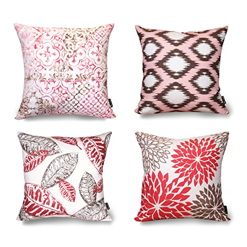 Phantoscope® New Living Red&Brown Decorative Throw Pillow Case Cushion Cover Set of 4