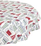 DII 60-Inch Kane Home Products Round Peva Tablecloth, Cut Glass Flannel Back