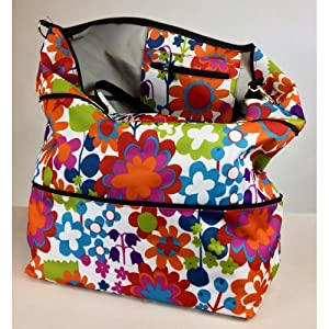 Wildflower Pattern Expandable Tote Bag: Amazon.co.uk: Kitchen & Home