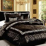 Free Shipping 7 Piece Safari Zebra Animal Prints Faux Fur Black Queen Size Comforter Set