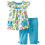 Frogwill Little Girls 2 Pieces Playwear Set With Bow and Applique (18M, Floral)