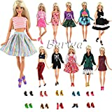 Toy - Barwa 20 Items = 10 Sets Fashion Casual Wear Clothes/outfit with 10 Pair Shoes for Barbie Doll Random Mix Style Xmas Gift