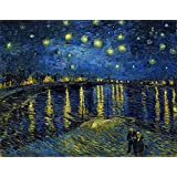 Ocher Art: Vincent Van Gogh: Starry Night Over The Rhone- Museum Quality Art Print On Canvas, (25x19 Inches)