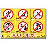 Poolmaster 41357 Icon Pool Rules Sign for Residential Pools