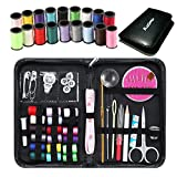 Sewing Kit Kasimir 42 Premium Sewing Supplies in a Mini Size Carrying Case Best Accessories for Kids Adults Professional College Dorm Home Travel and Emergency (Black)