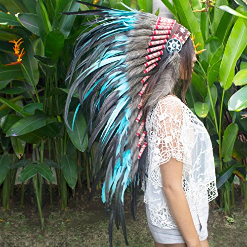 [Long Feather Headdress- Native American Indian Inspired- Handmade by Artisan Halloween Costume for Men Women with Real Feathers - Turquoise] (Halloween Indian Headdress)