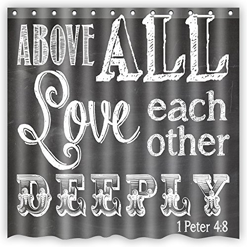 Bart Bible Verse Scripture Quotes Chalkboard Art Beautiful Pattern Gift Bathroom Shower Curtain,72-Inch by 72-Inch,Unique and Generic Waterproof Polyester Fabric Decorative Bath Curtain Designs (Chalkboard Shower Curtain compare prices)