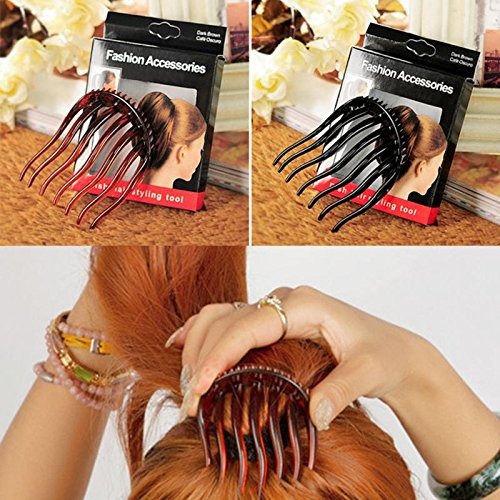 2016 Brand New Top Quality Acrylic Horsetail Hairstyle Comb Dish Hair Comb Fluffy Hair Style Comb Black (Hairstyles How To)