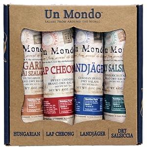 Un Mondo Salami of the World Gift Pack (Hungarian, Landjager German, Lap Cheong Chinese and Dry Salsiccia Italian Salame)