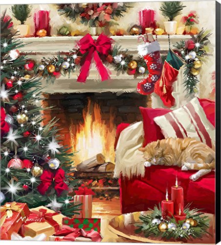 Christmas Fireplace by The Macneil Studio Canvas Art Wall Picture, Museum Wrapped with Black Sides, 14 x 16 inches