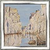 Marble Rocks, Jabalpur, Madhya Pradesh, India 20x20 Silver Contemporary Wood Framed Canvas Art by North, Marianne